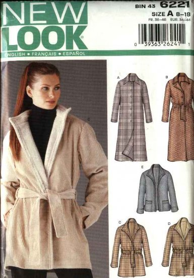 New Look Sewing Pattern 6221 Size 8-18 Misses' Coat and Jacket