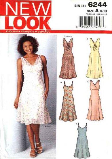 New Look Sewing Pattern 6244 Misses Size 8-18 Summer Sundress Slip Dress V-neck Dresses