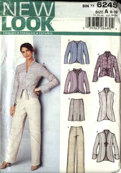 New Look Pattern 6245 Misses Size 8-18 Jacket Vest Skirt Pants