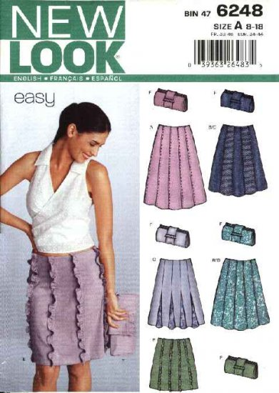 New Look Sewing Pattern 6248 Misses Size 8-18 Gored Skirts Clutch Purse