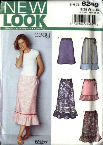New Look Sewing Pattern 6249 Misses Size 8-18 Easy Short Long Skirts Ruffled Hem