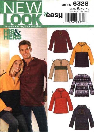 New Look Pattern 6328 Size XS-XL Unisex Misses Mens Pullover Tops Hoodies