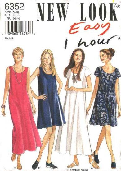 New Look Sewing Pattern 6352 Size 8-18 Misses Easy Pullover Loose Fitting Dresses