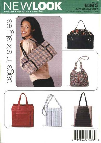 New Look Sewing Pattern 6365 Six Lined Fashion Bags Totes Purses