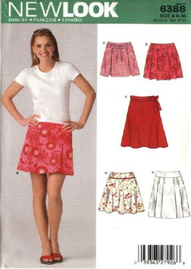 New Look Sewing Pattern 6388 Misses Size 6-16 Yoke Pleated Fitted Skirts