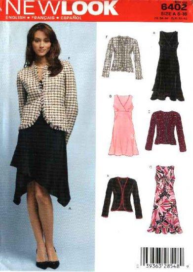 New Look Sewing Pattern 6402 Misses Size 6-16 Empire Waist Sleeveless Dress Jacket