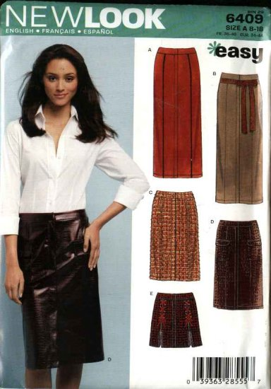 New Look Sewing Pattern 6409 Misses Size 8-18 Straight Pencil Skirts Three Lengths