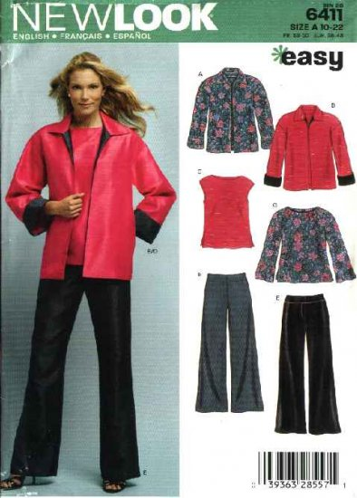 New Look Sewing Pattern 6411 Misses Size 10-22 Easy Top Jacket Pants