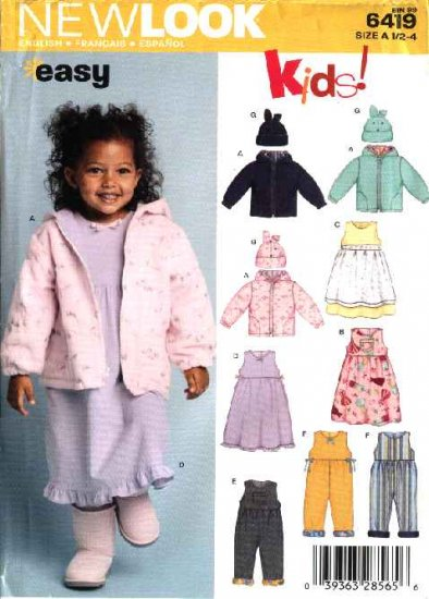 New Look Pattern 6419 Girls Size ½-4 Jacket Romper Dress Hat