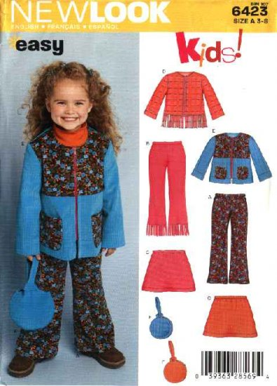 New Look Sewing Pattern 6423 Girls Size 3-8 Easy Jacket Pants Skirt Purse