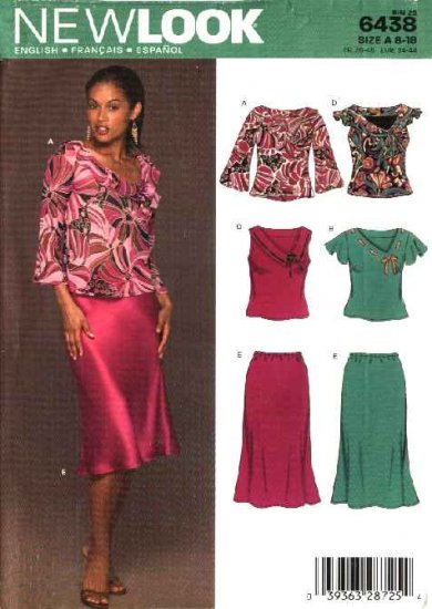 New Look Sewing Pattern 6438 Misses Size 8-18 Pullover Tops Flared Skirt