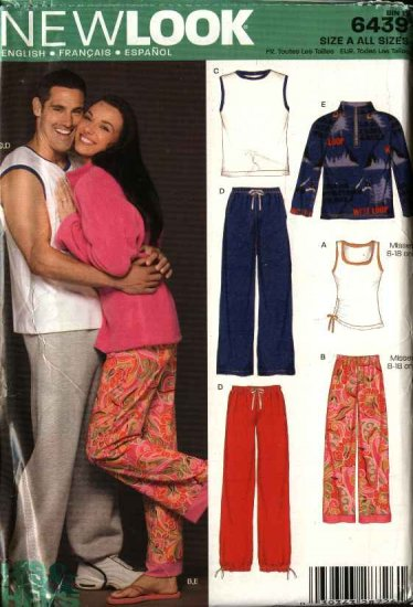 "New Look Sewing Pattern 6439 Unisex Mens Misses Chest Sizes 30-48"" Tops Pants Jacket"