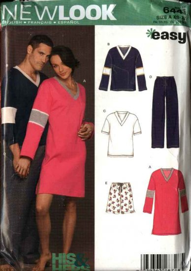 """New Look Sewing Pattern 6441 Mens Misses Chest Size 30-48"""" Easy Pajamas Nightgown Shorts Pants Top"""