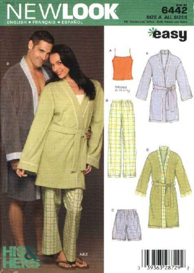 New Look Sewing Pattern 6442 All Sizes Unisex Mens Misses Sleepwear Robes Pants Shorts Camisole