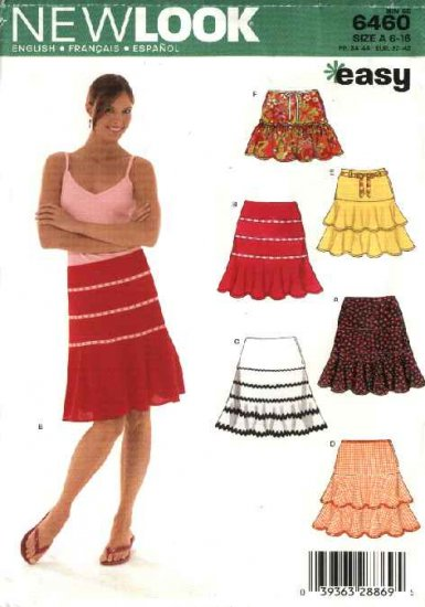 New Look Sewing Pattern 6460 Misses Size 6-16 Easy Tiered Yoke Ruffled Skirts