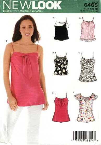 New Look Sewing Pattern 6465 Misses Size 8-18 Pullover Tops Camisoles Shells