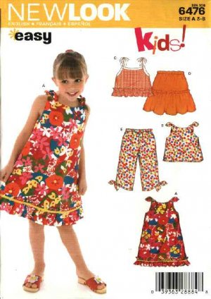 New Look Sewing Pattern 6476 Girls Size 3-8 Easy Summer Top Skirt Pants Dress