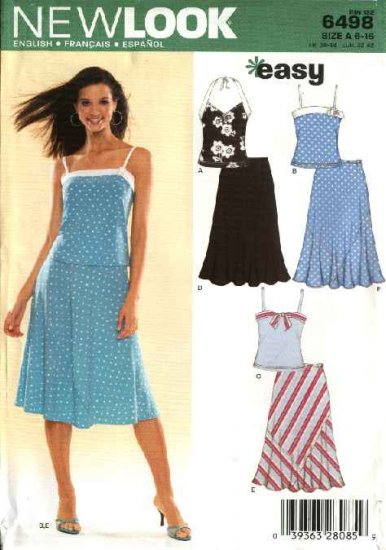 New Look Sewing Pattern 6498 Misses Size 6-16 Easy Knit Halter Tops Skirts 2-Piece Dress