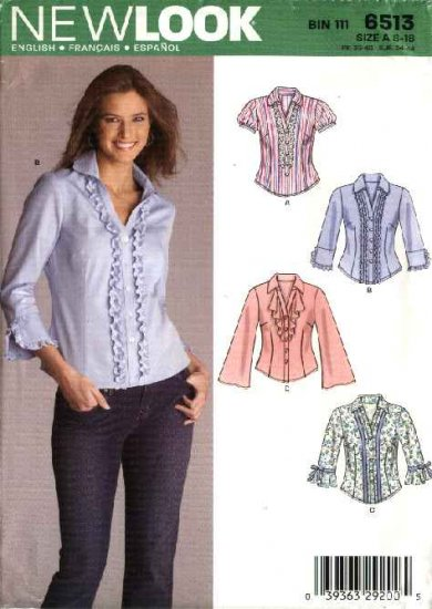 New Look Sewing Pattern 6513 Misses Size 8-18 Fitted Shirts Blouse Top Sleeve Trim Options