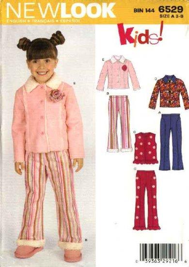New Look Sewing Pattern 6529 Girls' Size 3-8 Jacket Pants Vest