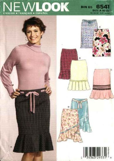 New Look Sewing Pattern 6541 Misses Size 10-22 Straight Pencil Skirts Ruffles Flounce
