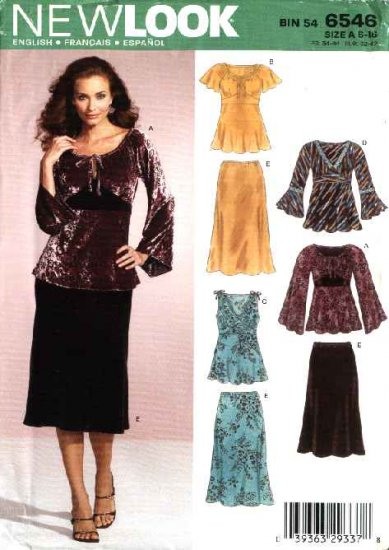 New Look Sewing Pattern 6546 Misses Size 6-16 Pullover Top Tunic Bias Skirt
