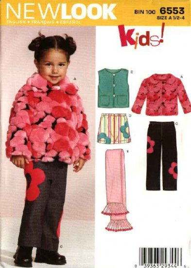 New Look Sewing Pattern 6553 Girls Size  ½-4 Jacket Vest Skirt Pant Scarf