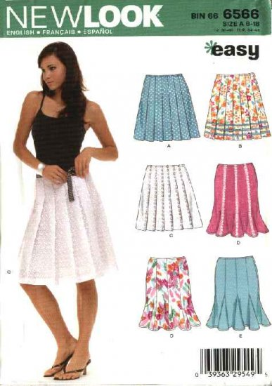New Look Sewing  Pattern 6566 Misses Size 8-18 Easy Pleated Gored Godet Skirts