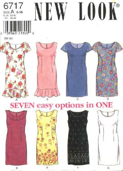 New Look Sewing Pattern 6717 Misses Size 6-16 Straight Dresses