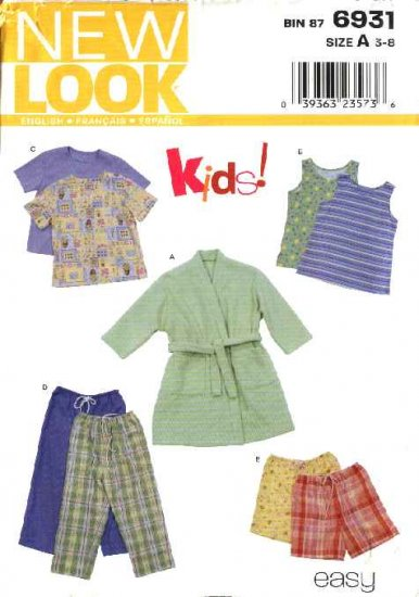New Look Sewing Pattern 6931 Size 3-8 Child�s Boys Girls Pajamas  Robe Tops Pants Shorts