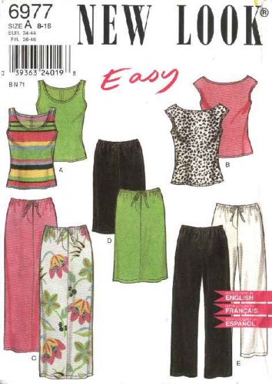 New Look Sewing Pattern 6977 Misses Size 8-18 Easy Top Skirts  Pants