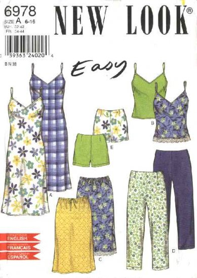 New Look Sewing Pattern 6978 Misses Size 6-16 Easy Camisole Top Skirt Dress Pants Shorts