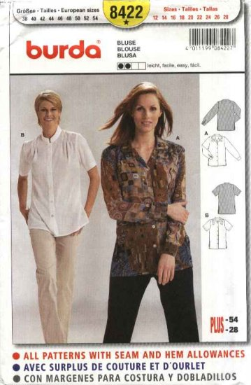 Burda Sewing Pattern 8422 Misses Size 12-28 Easy Classic Button Front Blouse Shirt Sleeve Options