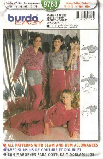 Burda Sewing Pattern 9768 Girls Size 11-16 Jr.  Easy Jacket T-shirt