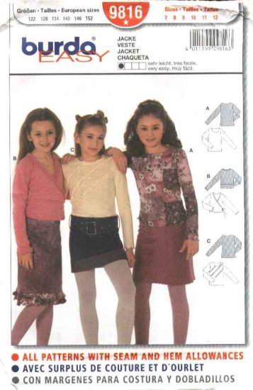 Burda Sewing Pattern 9816 Girls Size 7-12 Easy Knit Pullover Wrap Front Tops