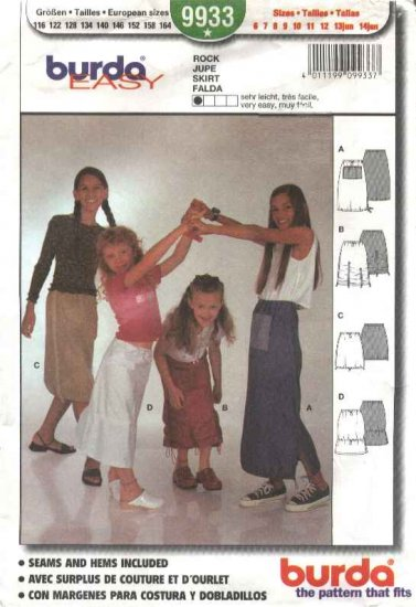 Burda Sewing Pattern 9933 Girls size 6-14Jr. Easy Pull-on Skirts