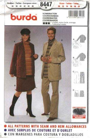 Burda Sewing Pattern 8447 Misses Size 10-20 Maternity Jacket Pants Skirt