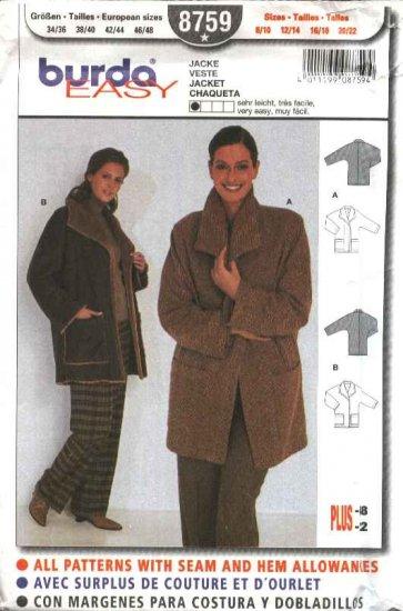 Burda Sewing Pattern 8759 Misses Size 8-22 Easy Loose Fitting Long Sleeve Jacket