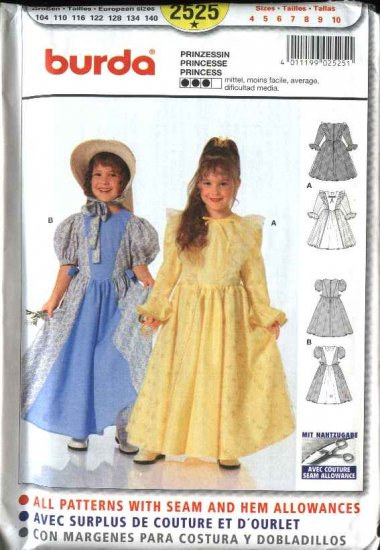 Burda Sewing Pattern 2525 Size 4-10 Girls Princess Gowns Dresses Costumes