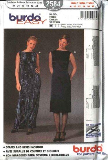 Burda Sewing Pattern 2584 Misses Size 8-18 Sleeveless Long Short Dress