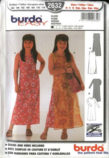 Burda Sewing Pattern 2632 Girls Size 10-16jr Dress Overdress