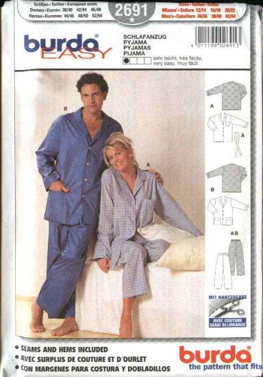 Burda Sewing Pattern 2691 Size 12-44 Men's & Misses Easy Pajamas