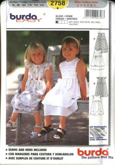 Burda Sewing Pattern 2758 Size 2-7 Toddlers' Girls' Dresses