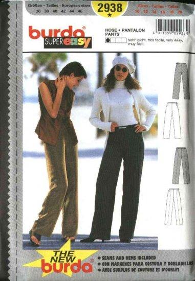 Burda Sewing Pattern 2938 Misses Size 10-20 Easy Fitted Slacks Pants