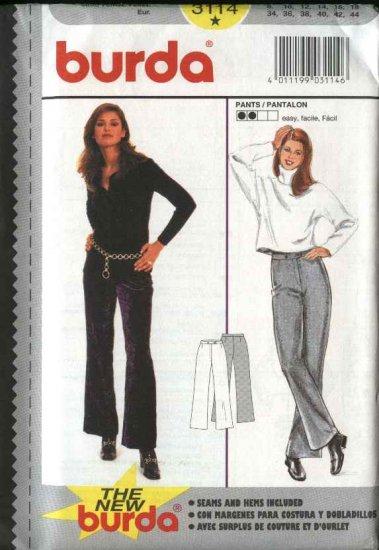 Burda Sewing Pattern 3114 Size 8-18 Misses' Close-Fitted Pants Slacks