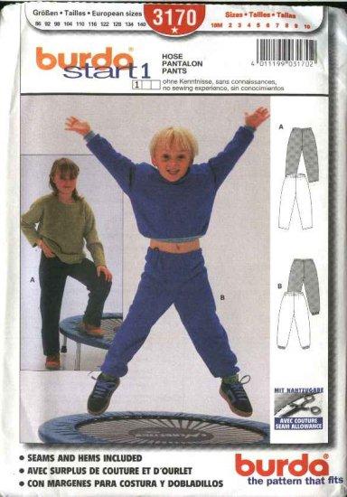 Burda Sewing Pattern 3170 Size 18M-10 Children's Boys Girls Easy Pull-on Pants