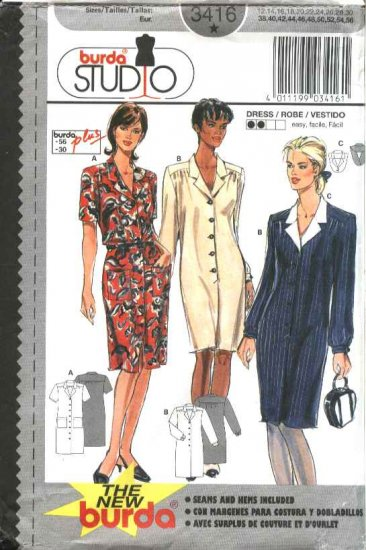 Burda Sewing Pattern 3416 Women's Size 12-30 Easy Button Front Dress