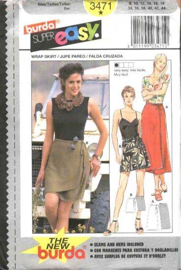 Burda Sewing Pattern 3471 Misses Size 8-18 Easy Wrap skirt