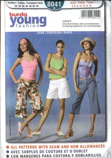 Burda Sewing Pattern 8041 Misses Size 6-18 Easy Capri Pants Shorts