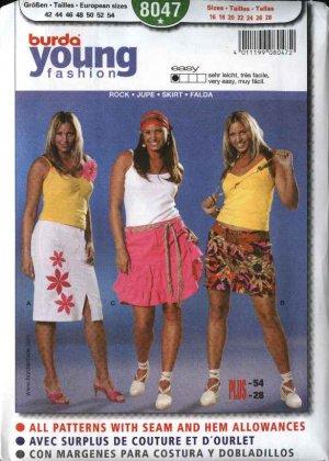 Burda Sewing Pattern 8047 Size 16-28 Women's Plus Easy Skirts